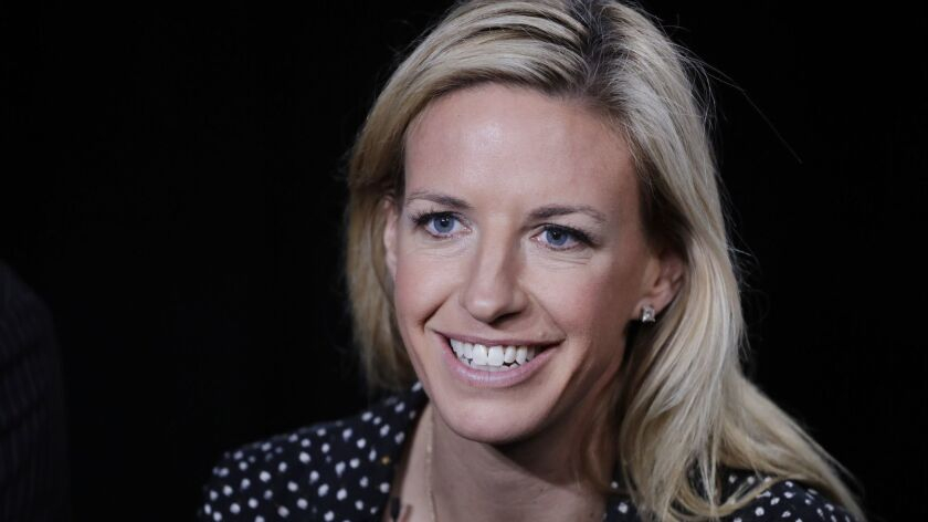 Aly Wagner talks during an interview, Wednesday, May 30, 2018, in New York. Fox's Aly Wagner and Tel