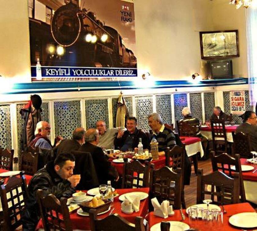 Passengers enjoy the restaurant at Haydarpasa station in Turkey.