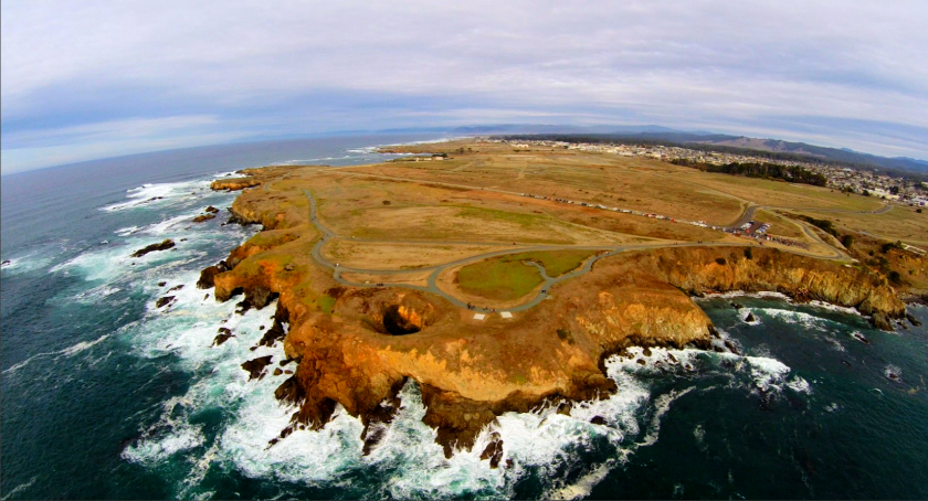 An aerial view of the new Coastal Trail outside Fort Bragg in the Noyo Headlands area of Mendocino County.