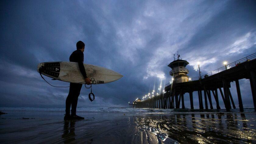 HUNTINGTON BEACH, CALIF. -- THURSDAY, JANUARY 12, 2017: Surfer and Huntington Beach lifeguard Jachi