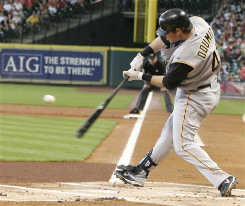 Pittsburgh Pirates' Ryan Doumit connects for a sacrifice fly out to score Nate McLouth from third base in the first inning against the Houston Astros in a baseball game Wednesday, July 23, 2008 in Houston. (AP Photo/Pat Sullivan)