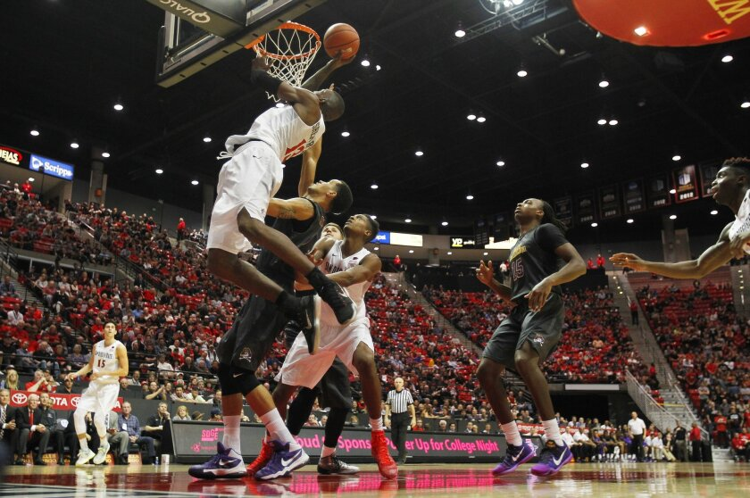 SDSU's Winston Shepard goes up for a shot against East Carolina.