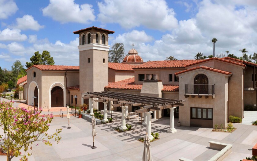 The patio at the Village Church, which is located at 6225 Paseo Delicias, Rancho Santa Fe, 92067.