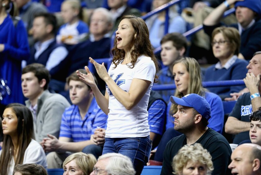 Ashley Judd cheers for the Kentucky Wildcats during a game against the Florida Gators at Rupp Arena on March 7.