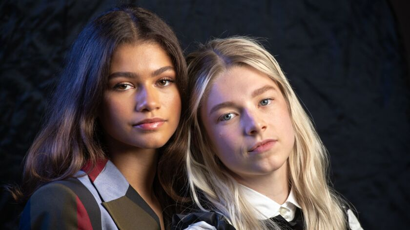 LOS ANGELES, CA - JUNE 3, 2019: Zendaya, left, and Hunter Schafer star in HBO's new boundary-pushing