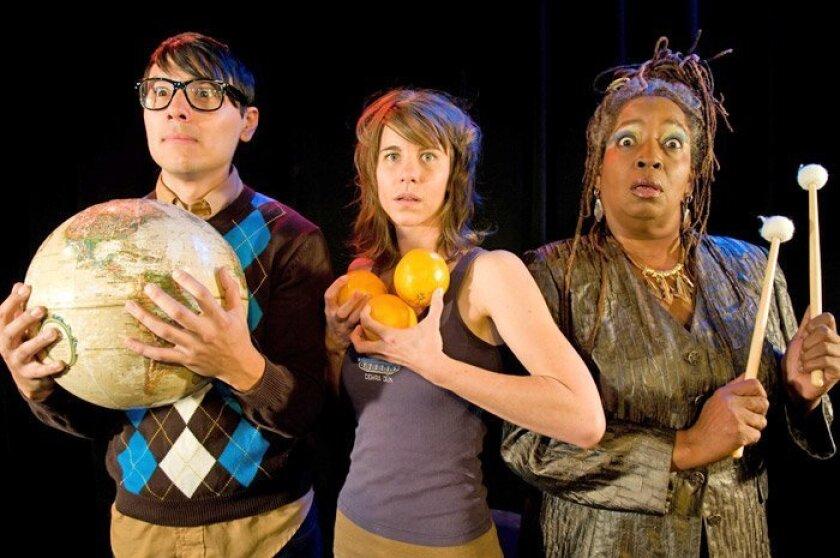 "Steven Lone, Rachael VanWormer and Sylvia M'Lafi Thompson star in San Diego Repertory Theatre's ""boom."""