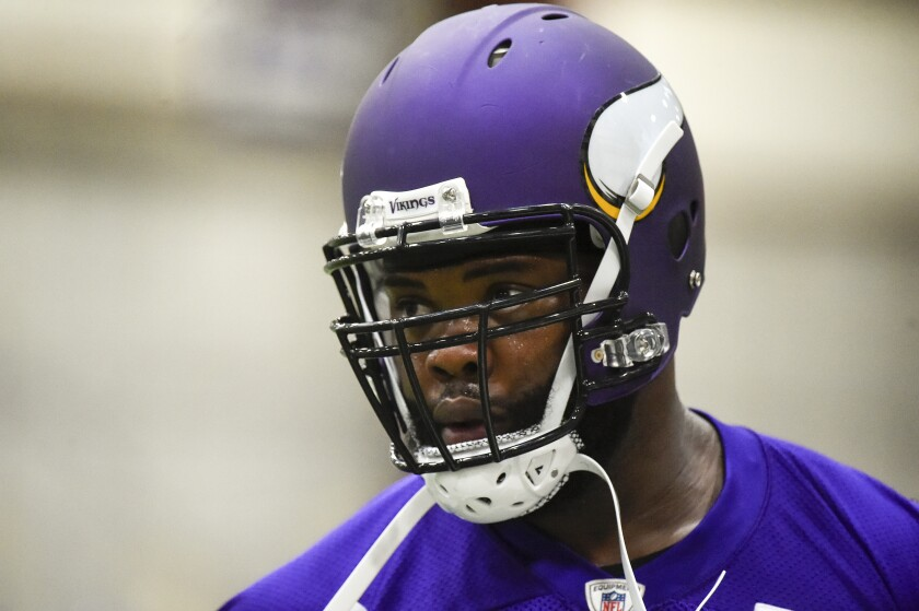 Minnesota Vikings defensive tackle Linval Joseph works out during practice in Eden Prairie, Minn. on May 25, 2016.