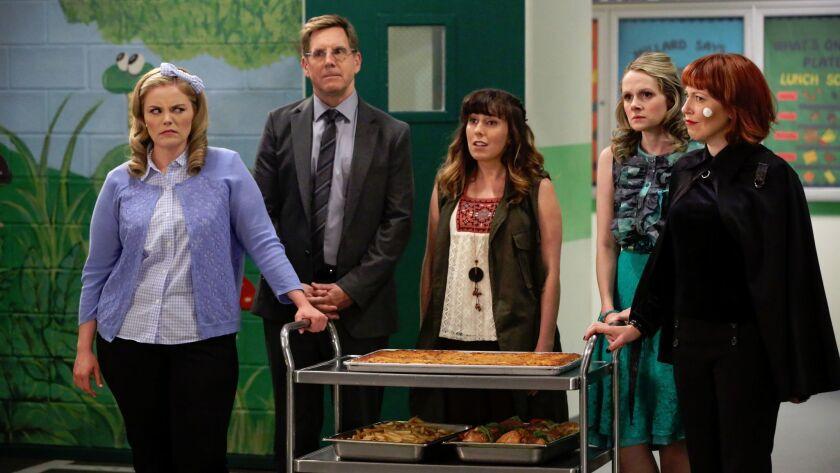 "From left: Katie O'Brien, Tim Bagley, Caitlin Barlow, Kate Lambert and Kathryn Renee Thomas in TV Land's series ""Teachers."""