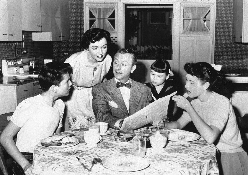 """Billy Gray, Jane Wyatt, Robert Young, Lauren Chapin and Elinor Donahue in an episode of """"Father Knows Best"""" from May 1956."""