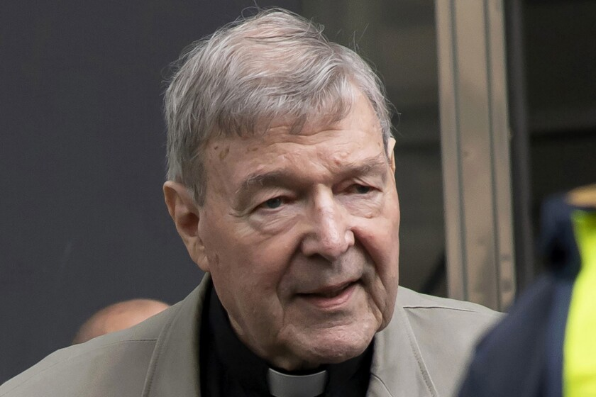 FILE - In this Feb. 26, 2019, file photo, Cardinal George Pell arrives at the County Court in Melbourne, Australia. A newspaper reports that Pell has been transferred from a Melbourne prison after a drone illegally flew overhead in a suspected attempt to photograph the famous inmate. (AP Photo/Andy Brownbill, File)