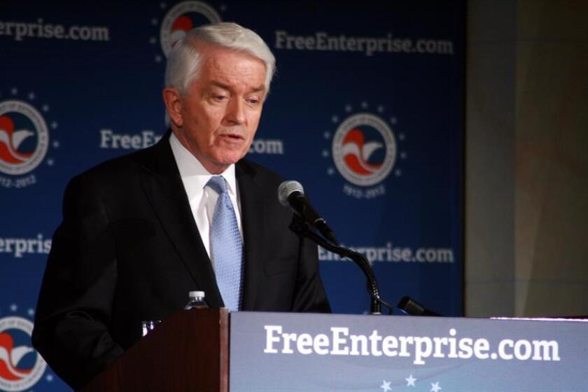 El presidente de la Cámara de Comercio de EEUU, Tom Donohue, habla durante una rueda de prensa en Washington. EFE/Archivo