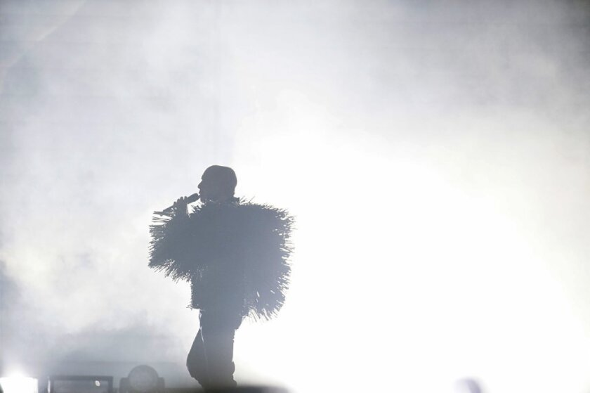 Neil Tennant of the Pet Shop Boys performs at the Shrine Auditorium.