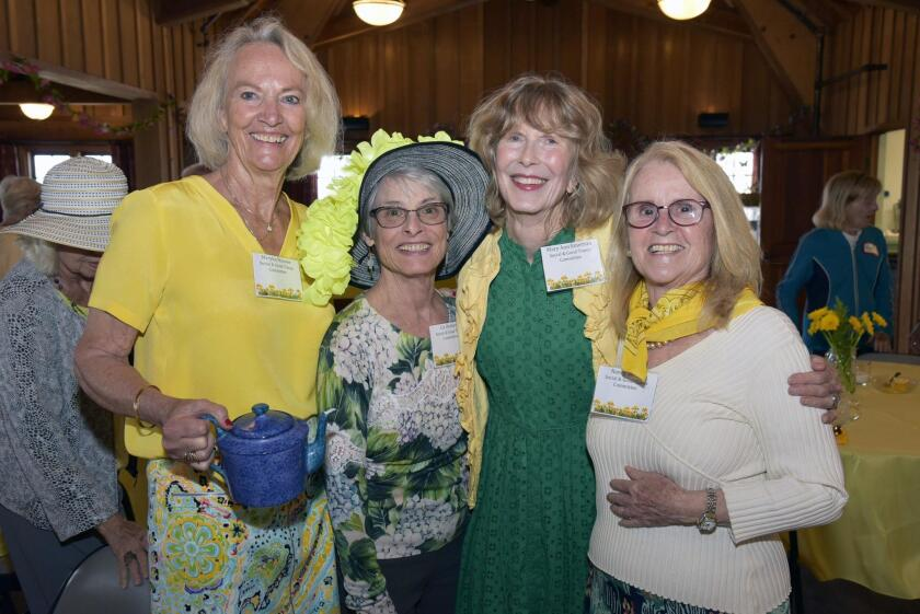 Event chair Maryka Hoover, Social and Good Times committee member Liz Dernetz, DMCC original founding members Mary Ann Emerson and Nancy Weare