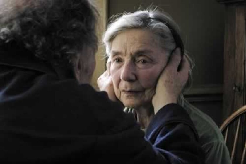 Directed by Michael Haneke, the French-language film, 'Amour,' stars Jean-Louis Trintignant and Emmanuelle Riva. It is playing at Landmark La Jolla Village and received five Oscar nominations, including Best Picture.