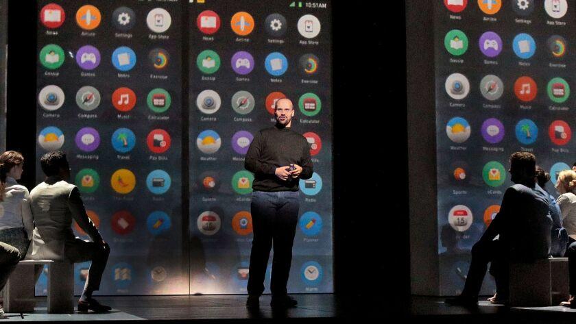 "Edward Parks as Steve Jobs in Santa Fe Opera's world premiere of Mason Bates and Mark Campbell's ""The (R)evolution of Steve Jobs."""