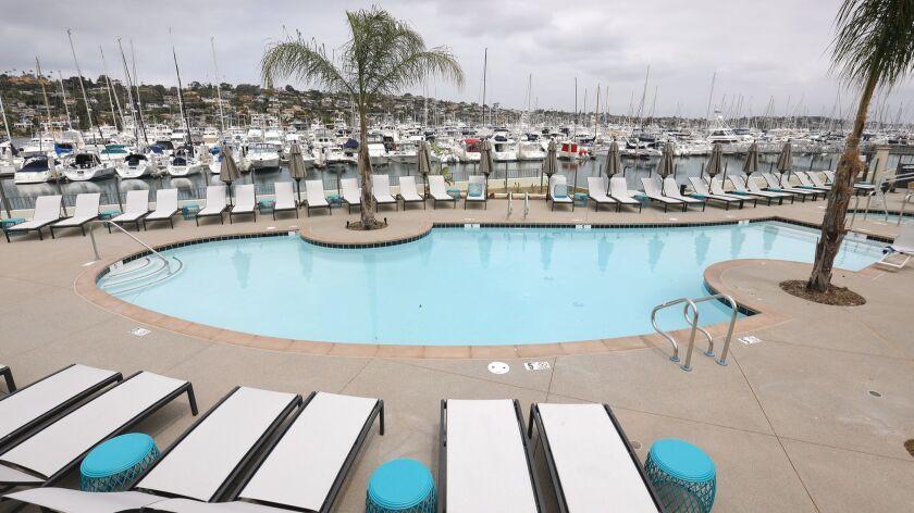 SAN DIEGO, CA: May 30, 2018: The new Paloma Pool and Bar at the Kona Kai Resort & Spa on Shelter Isl