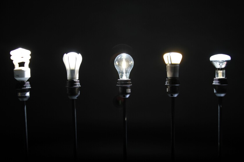 Different types of light bulbs, including incandescent, fluorescent, halogen and LED.