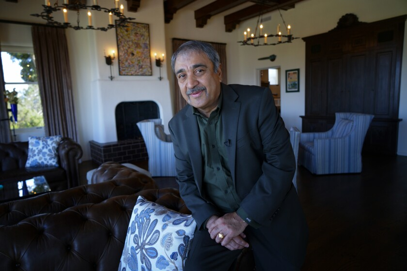 UC San Diego Chancellor Pradeep Khosla at his home during a recent interview with the San Diego Union-Tribune. Khosla is expected to be appointed to another five-year term.