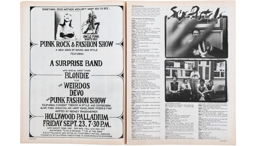 A spread from the September 1977 issue features an interview with the Sex Pistols (right) and an ad for  punk concert and fashion show at the Hollywood Palladium.