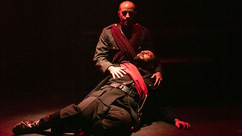 """Sam Breen, top, plays Cassius and Faqir Hassan is Brutus in a new Independent Shakespeare Company production of """"Julius Caesar."""""""