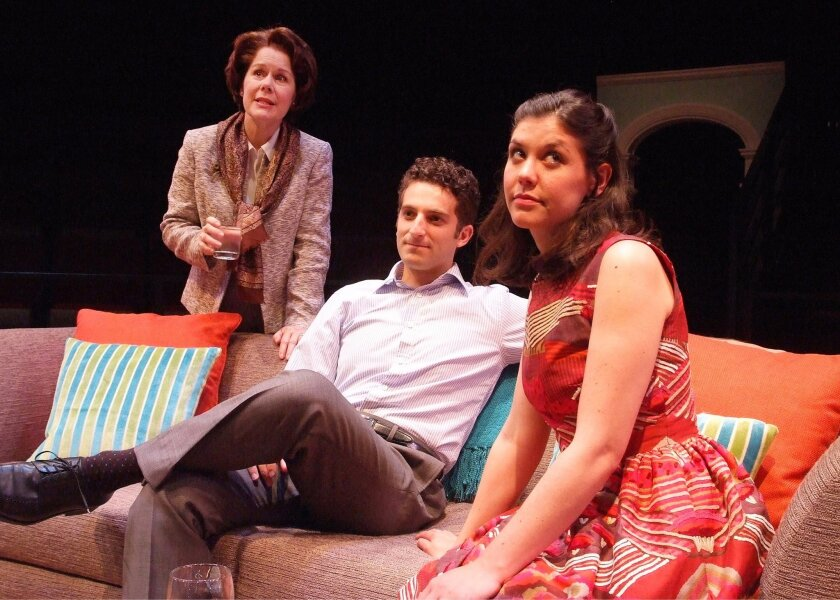 """Christine Estabrook, Ben Graney and Zoë Winters (left to right) in the Old Globe's West Coast premiere """"Be a Good Little Widow."""""""