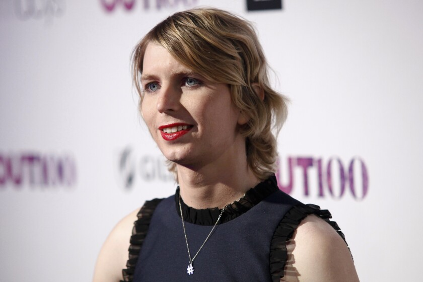 FILE - In this Nov. 9, 2017, file photo, Chelsea Manning attends the 22nd Annual OUT100 Celebration Gala at the Altman Building in New York. A federal judge on Thursday, March 12, 2020, ordered Manning released from jail after being incarcerated since May 2019 for refusing to testify to a grand jury. (Photo by Andy Kropa/Invision/AP, File)