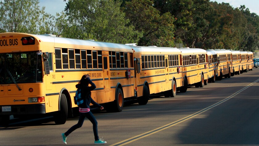 Buses line up for school in San Diego.