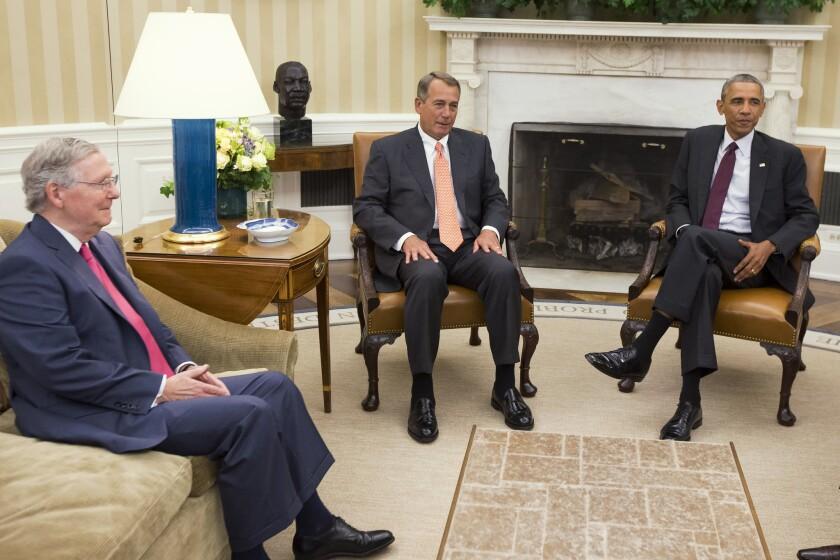 Senate GOP leader Mitch McConnell of Kentucky, left, and House Speaker John Boehner of Ohio meet with President Obama in September.