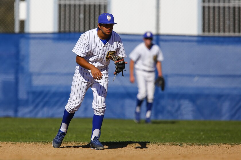 Grossmont second baseman Giovanni Gigante readies himself in the fourth inning against Rancho Bernardo.