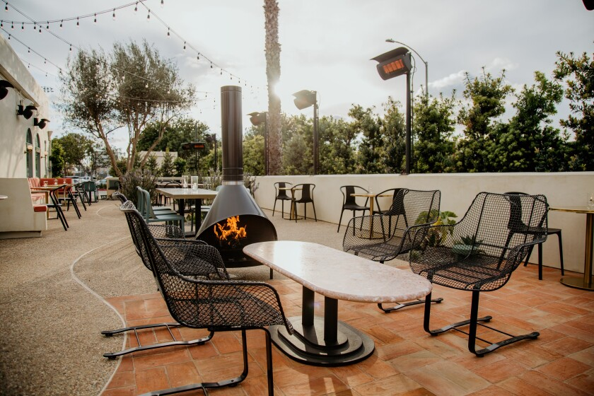 The redesigned patio at Jeune et Jolie in Carlsbad, which reopened March 21.