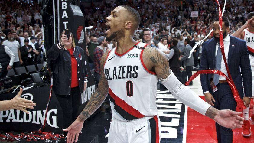 Portland Trail Blazers guard Damian Lillard celebrates after Game 5 of an NBA basketball first-round