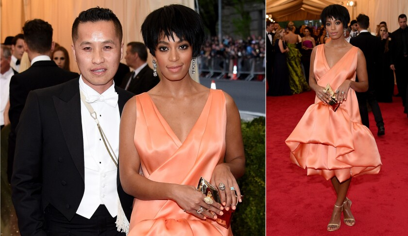Solange Knowles poses on the red carpet last week with designer Philip Lim, whose creation she wore to the Metropolitan Museum of Art's Costume Institute Gala. Surveillance video came out Monday showing her later that night in a physical altercation with brother-in-law Jay Z.
