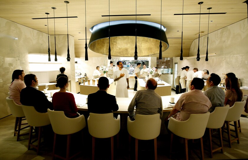 Diners at Somni's 10-seat chef's counter at SLS Beverly Hills.