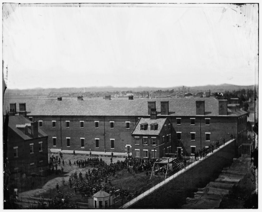 The gallows in Washington, D.C., as the conspirators in President Abraham Lincoln's assassination are about to be hanged.
