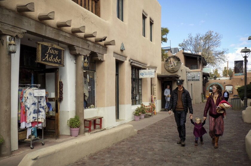 TAOS, NEW MEXICO - Southwestern architecture takes center-stage in the center of Taos.