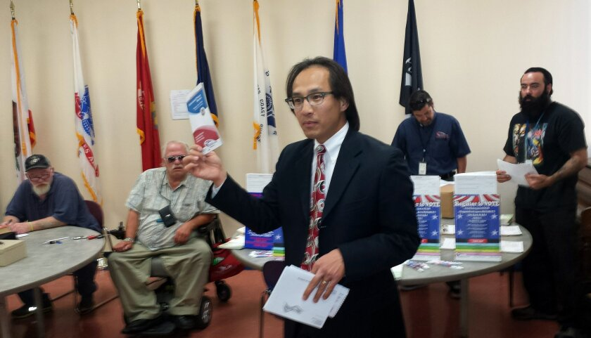 San Diego County Registrar of Voters Michael Vu at Interfaith Community Services in Escondido.