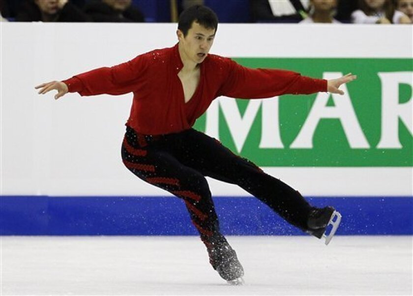 Patrick Chan of Canada performs during his Men's Free skating at the ISU 2012 World Figure Skating Championships in Nice, southern France, Saturday, March 31, 2012. (AP Photo/ Francois Mori)