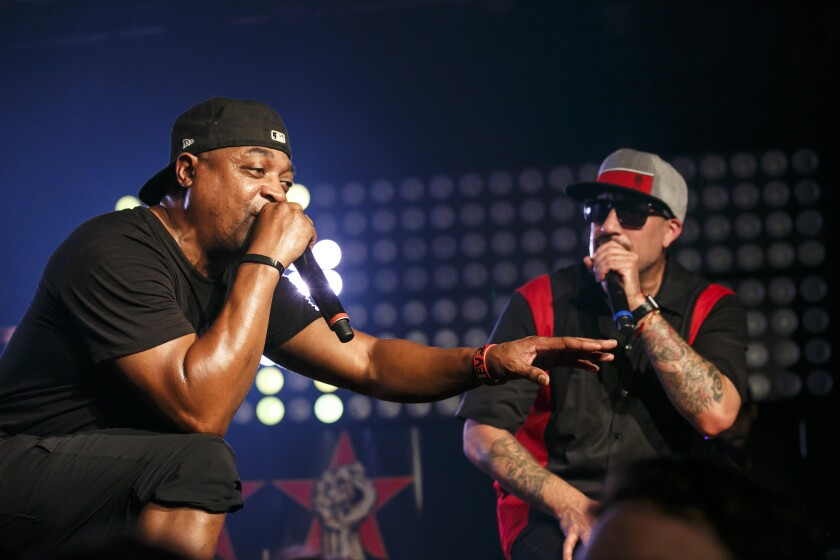 Chuck D, left, and B-Real perform at Tuesday's show.