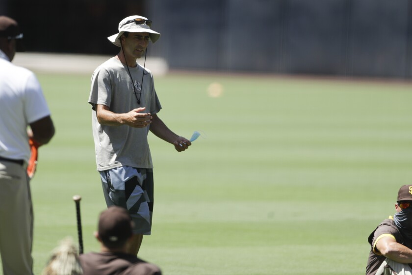 Padres General Manager A.J. Preller talks to the team during summer camp at Petco Park.