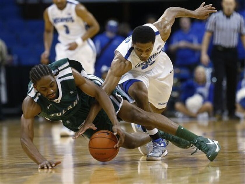Tulane forward Josh Davis, left, and Memphis guard Geron Johnson reach for a loose ball in the first half of a men's NCAA college basketball game in the Conference USA tournament in Tulsa, Okla., Thursday, March 14, 2013. (AP Photo/Sue Ogrocki)