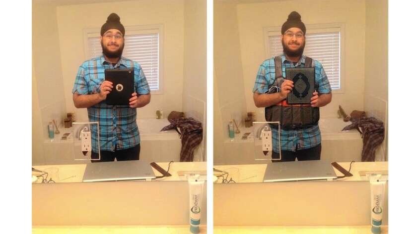 On the left, the original selfie by Sikh Veerender Jubbal taken by his iPad. On the right, the altered shot.