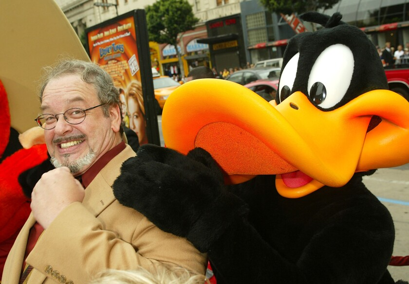 """Voice actor Joe Alaskey, who succeeded Mel Blanc as Daffy Duck and Bugs Bunny, arrives at the premiere of """"Looney Tunes: Back in Action"""" in Hollywood in 2003."""