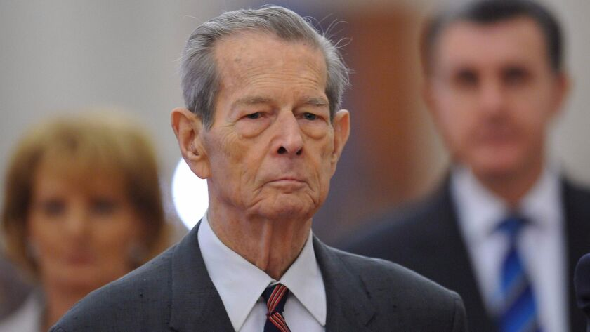 Former King Michael I of Romania arrives for his anniversary speech at Romanian Parliament in Bucharest in 2011.