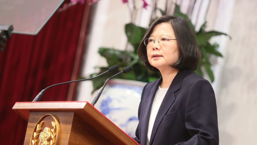 President Tsai Ing-wen at a year-end news conference on Dec. 31, 2016.