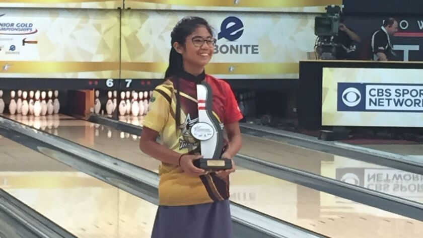 San Diegan Katelyn Abigania bowled games of 223 and 215 in winning the title.
