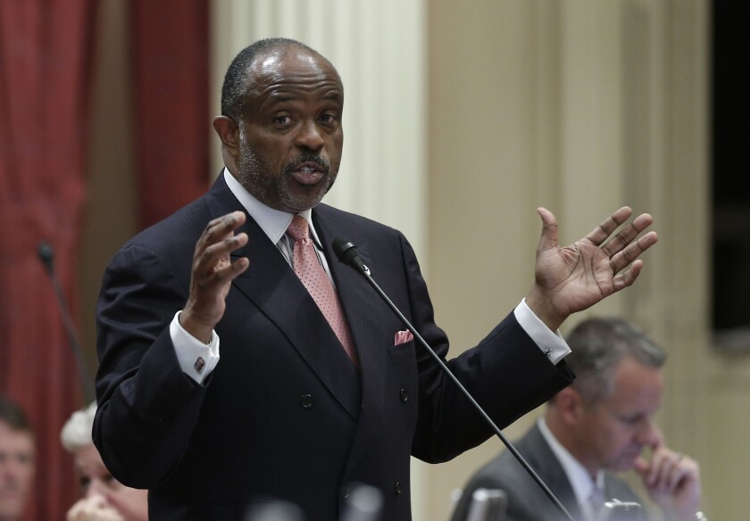 Sen. Rod Wright (D-Inglewood) speaks in Sacramento last year. He said Monday that he has been frustrated by his criminal case in which a jury found him guilty of eight felonies.