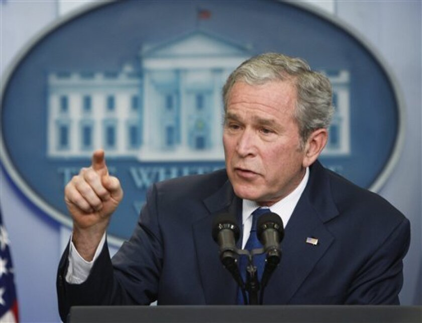 President George W. Bush speaks during a news conference, Monday, Jan. 12, 2009, in the pressroom at the White House in Washington.   (AP Photo/Ron Edmonds)