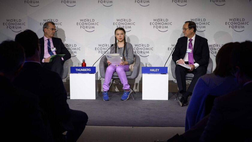 Seventeen-year-old environmental activist Greta Thunberg, pictured here at last year's Davos summit, is scheduled to attend again this year.