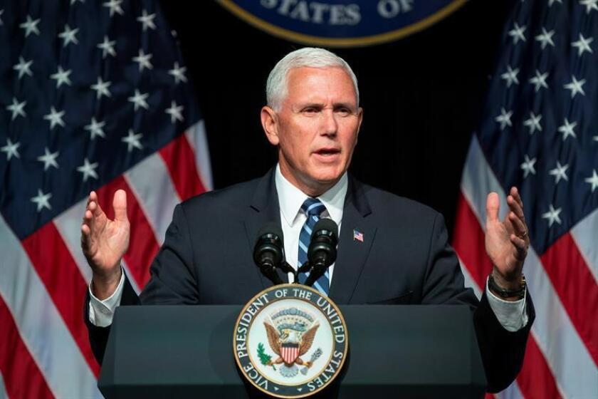 El vicepresidente estadounidense, Mike Pence, ofrece un discurso en el Pentágono de Arlington, Virginia (Estados Unidos). EFE/Archivo