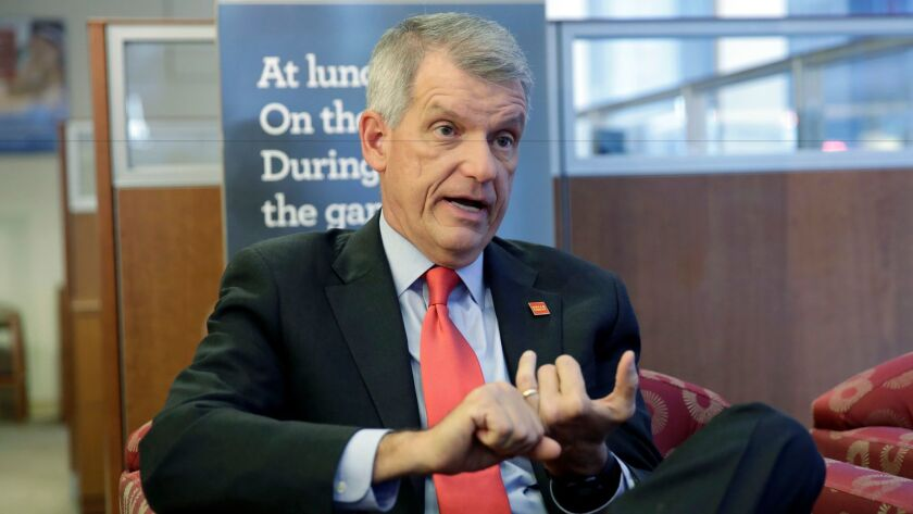 Wells Fargo CEO & President Timothy Sloan is interviewed in one of his bank's branches, in New York,